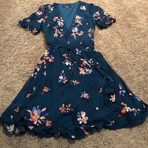 Teal floral midi wrap dress